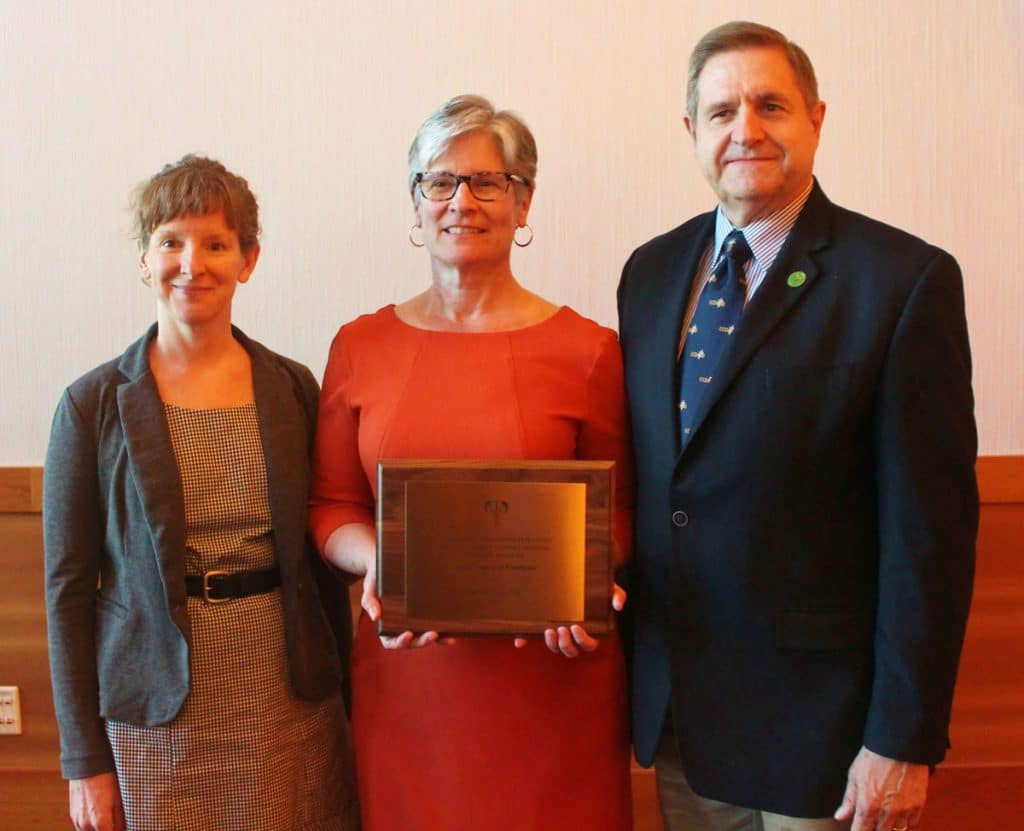Pictured (L-R): Dr. Sarah Wagner, Dr. Virginia Fajt and Dr. Terry Lehenbauer