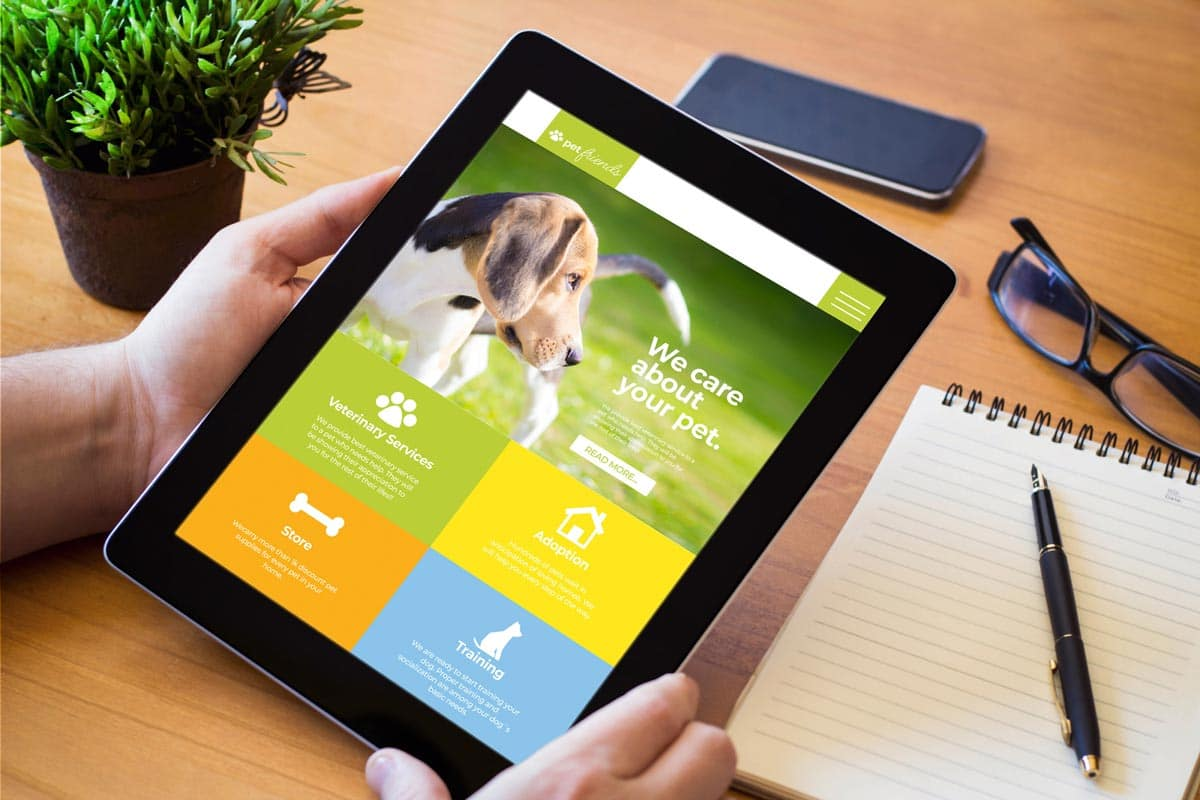 Photo of a pet app on a tablet representative of adapting and leveraging technology.