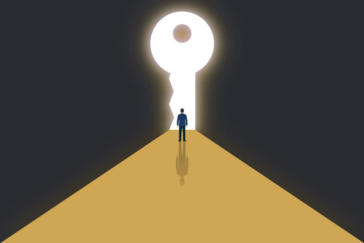 Illustration of man standing before key shaped portal representative of beyond the sale.