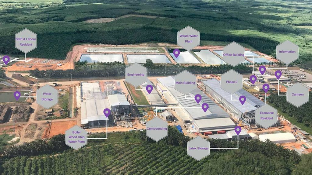 Sri Trang Rubber Glove factory exterior aerial photo with building labeled