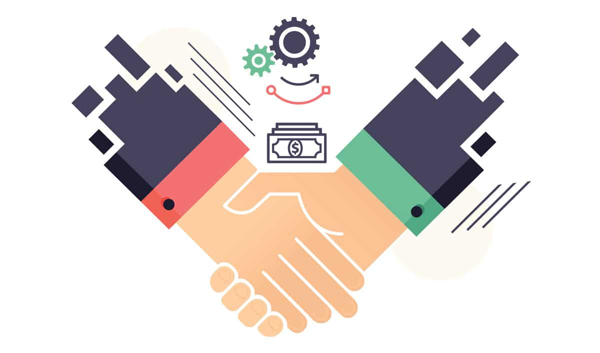 Graphic of two hands shaking representative of KindredBio selling Mirataz