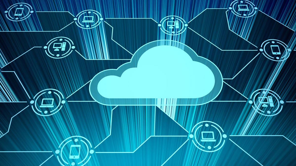 Illustration of cloud and devices representative of cloud-based technology