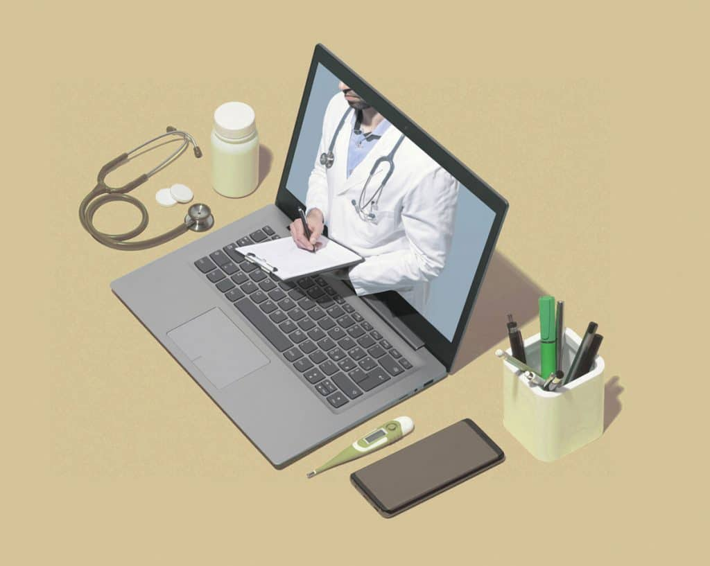 Photo of a vet stepping out of a laptop screen. Representative of veterinary telemedicine.