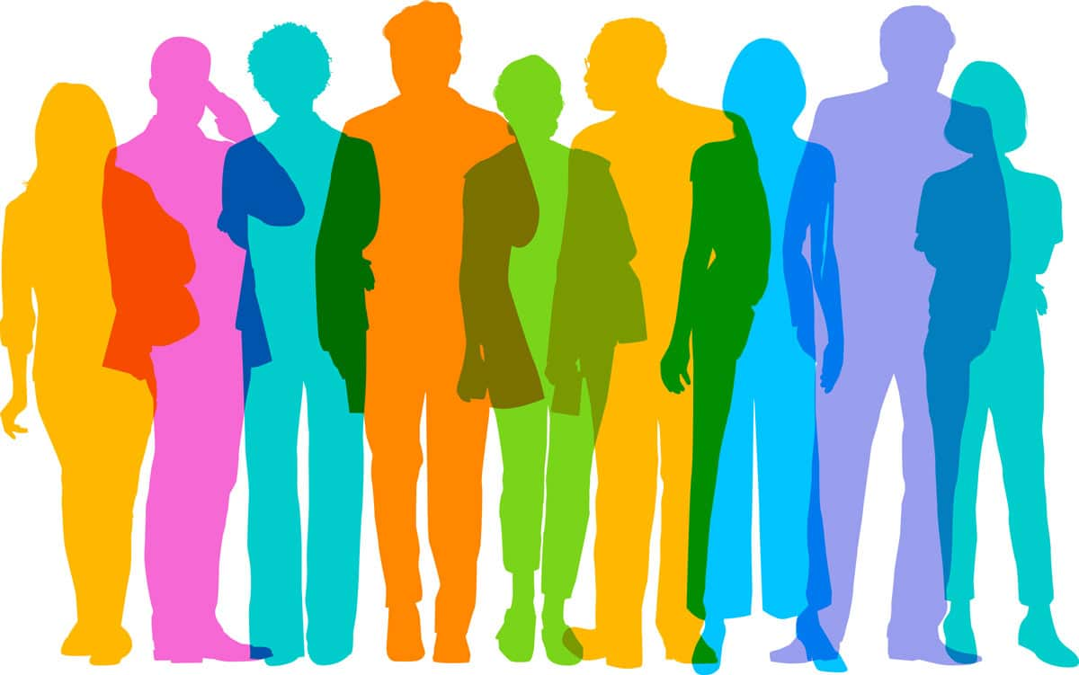 Illustration of people outlines representative of veterinary inside sales reps.