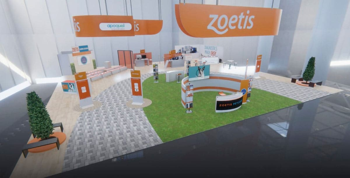 Rendering of Zoetis' virtual booth at VMX 2021.