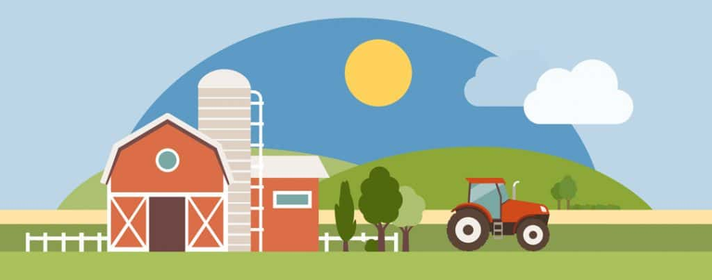 Illustration of farm with barn and tractor representative of livestock market.