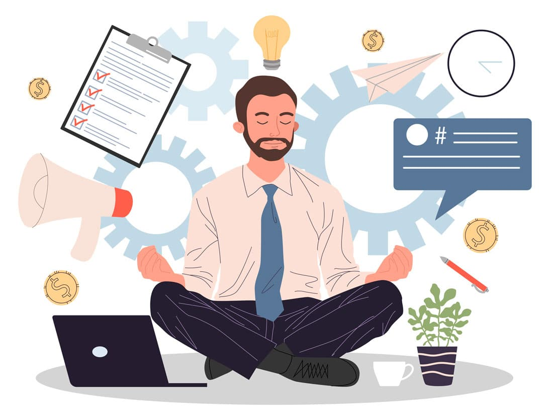 Illustration of man meditating with business icons floating in the background representative of veterinary industry transformation.
