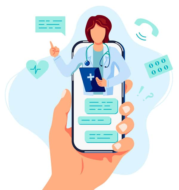 Illustration of vet in a handheld mobile phone representative of connected care.
