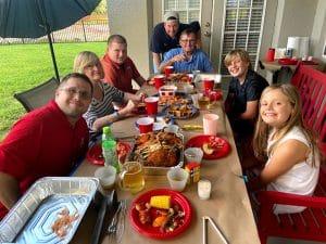 Photo of Paul Brennan birthday celebration with family.