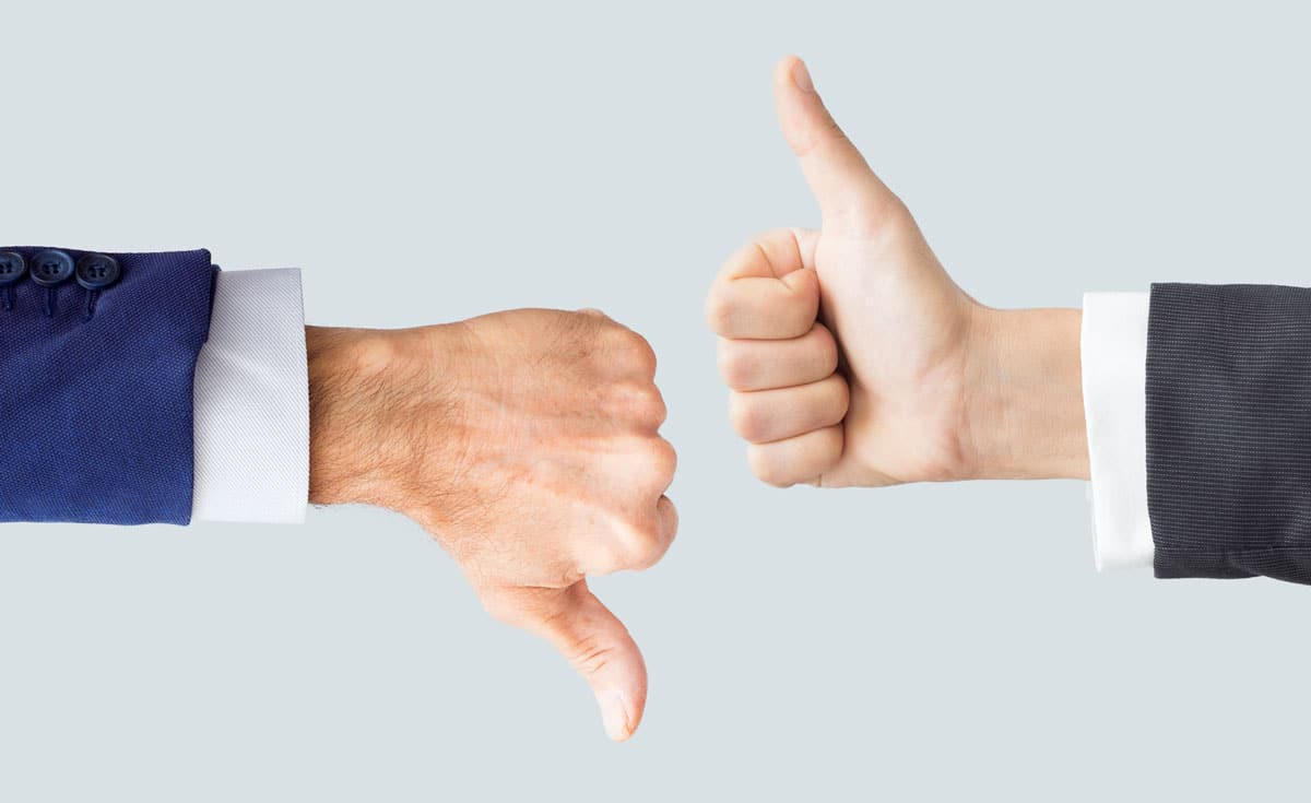 Photo of a thumbs up and a thumbs down representative of dead sales.