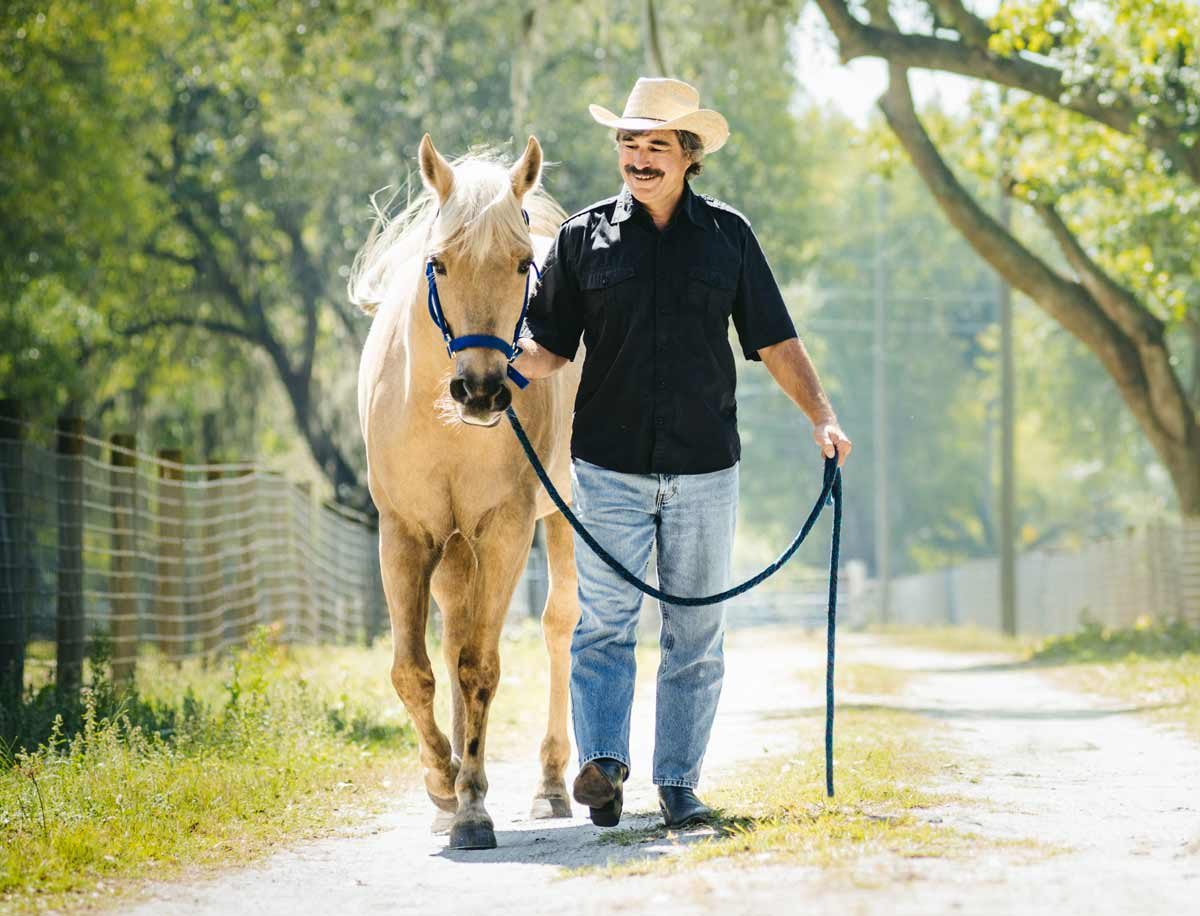 Photo of man walking horse representative of equine vet's summer season.