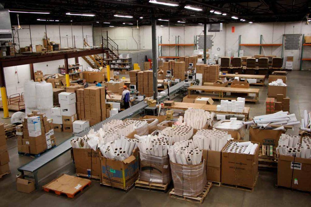 Wide shot of Penn Veterinary Supply Warehouse.