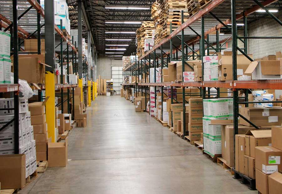 Interior photo of Penn Veterinary Supply warehouse.