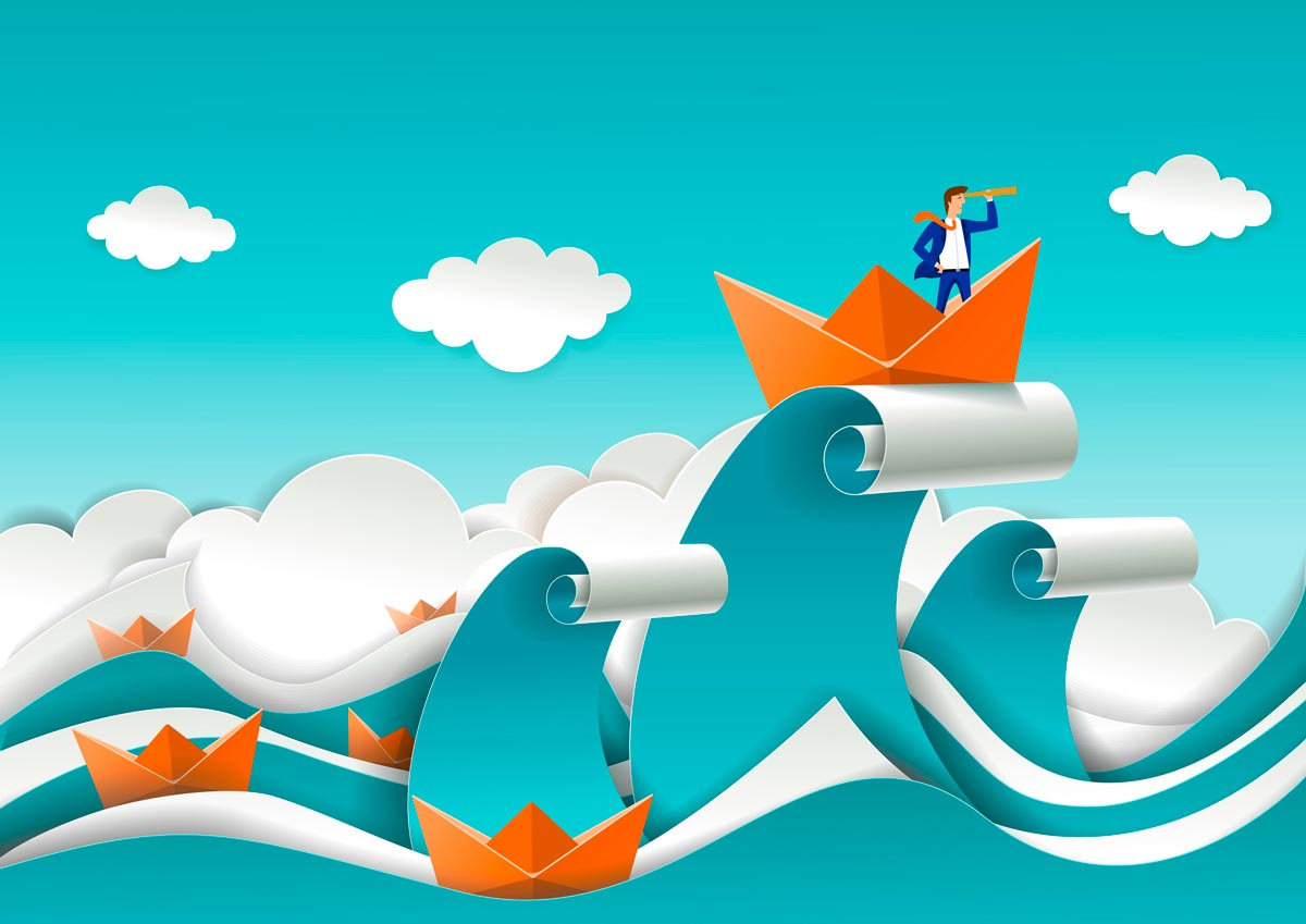 Graphic of man riding high waves in a paper boat representative of following as a sales skill.