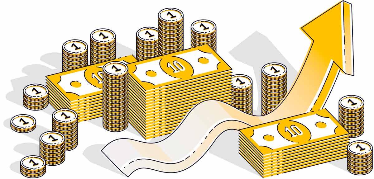 Graphic of upward arrow, coins, and bills representative of raising veterinary fees.