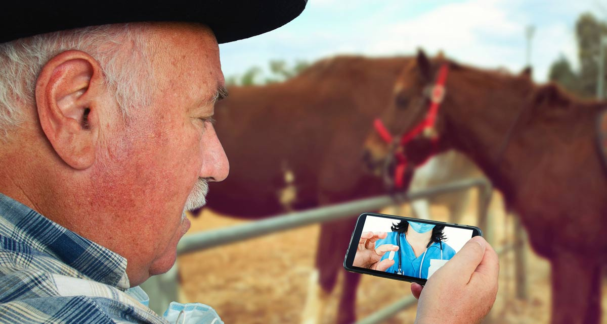 Photo of rancher with horses in background telechatting with vet representative of equine telehealth.